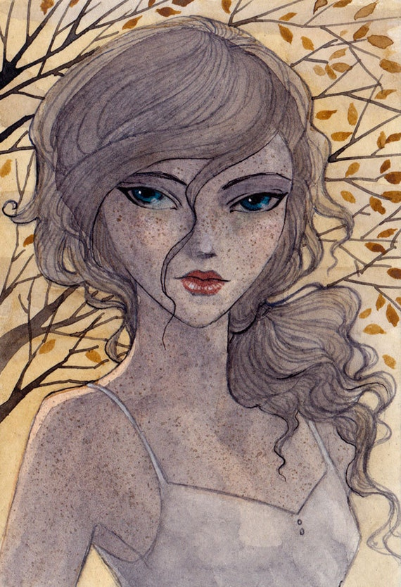 FREE SHIPPING - Azure Eyes - 3.5 x 5 Original Painting - ink and watercolor - one of a kind