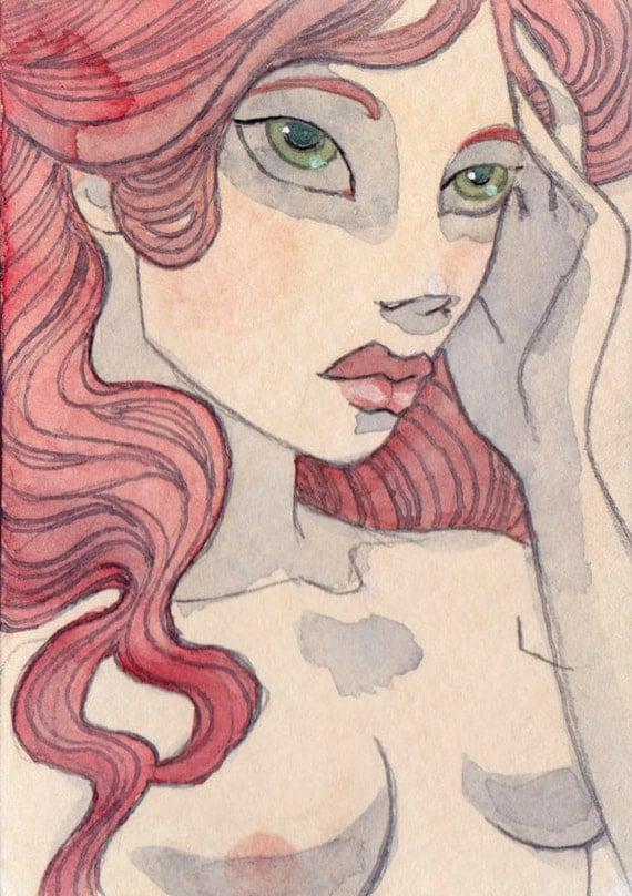 Josette - Original ACEO - 2.5 x 3.5 miniature artwork
