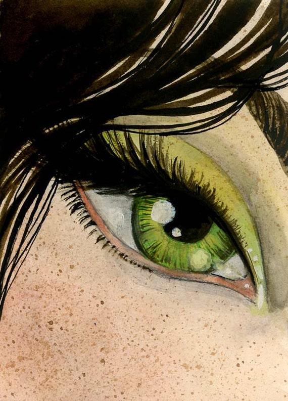 Leaf-green Eye- Original ACEO - 2.5 x 3.5 tiny art - one of a kind