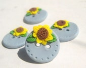 Kansas Sky-- sunflower polymer clay buttons set of four