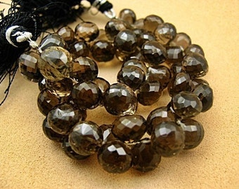 Smokey Quartz Gemstone Bead, Onion Briolette 8-10 mm.  Pairs or NonMatching 1 to 5 Briolettes . (2qsm)