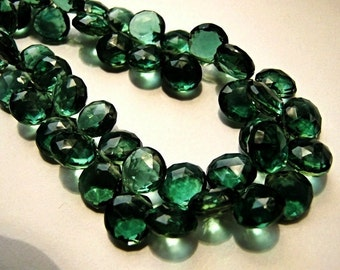 Green Hydro Quartz Gemstone Bead. Faceted Heart Briolettes. 9mm.  Semi Precious Gemstone. Pairs or Non Matching 1 to 5 Briolettes (JHQ2)