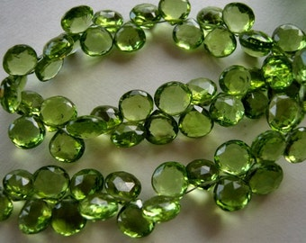 Semi Precious Gemstone Briolettes.  GREEN PERIDOT Gemstone,  Faceted Heart Briolettes,  7-8mm.   Packet of 5 (13PERn). REDUCED from 16.90