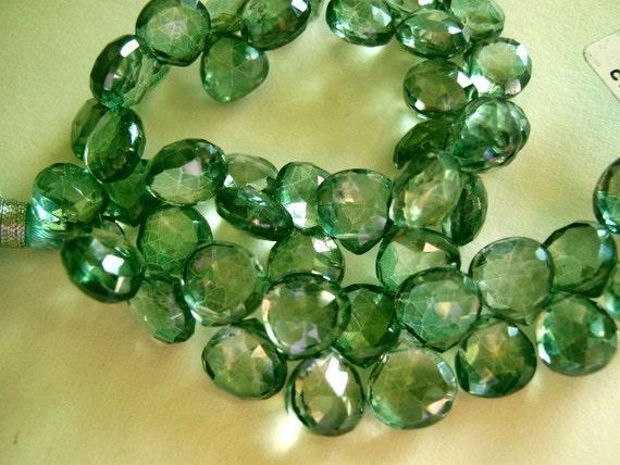 Quartz Gemstone. Mystic Green,  Faceted Heart Briolette, 8-9mm. Semi Precious Gemstone. Pkg of 2. (4t54). 40 PERCENT OFF. Was 7.20 Last Ones