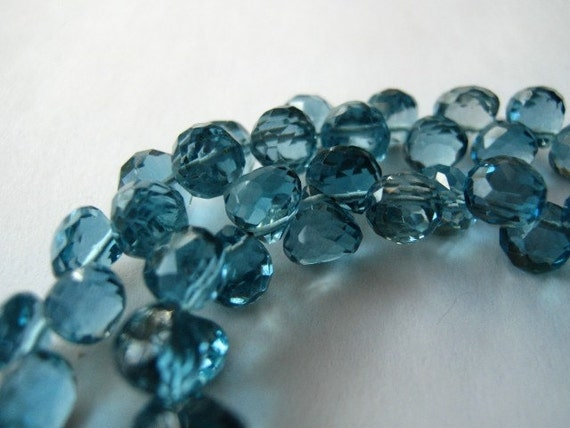 London Blue Topaz Gemstone. Faceted Onion Briolettes, 5mm. Semi Precious Gemstone Briolette. Packet of 2.  (11TZLB) Reduced from 15.40