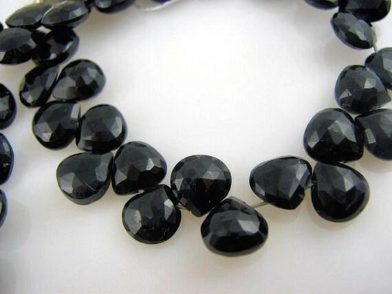 semi precious gemstone briolettes faceted black spinel