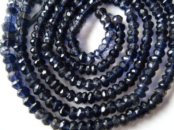 Superb Sparkling Shaded Iolite Faceted Rondelles. 3mm- 3.5mm. Packet of 12 ... (11IO)