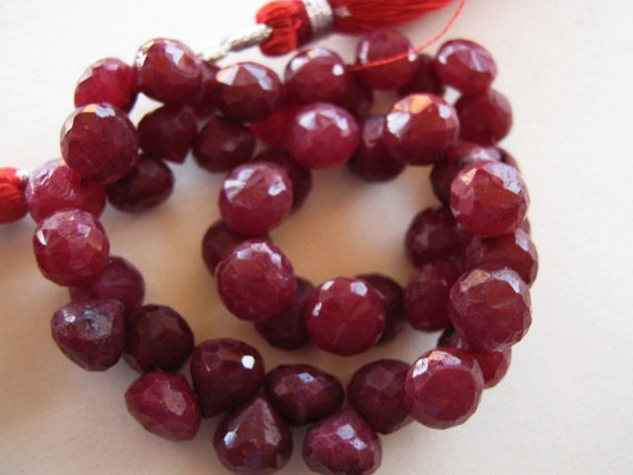 RUBY Gemstone, Rare Faceted Onion Briolettes, 7mm.  Precious Gemstone Briolettes.  Packet of 2.  (1RBY)