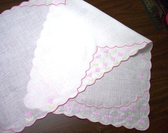 Linen Table Runner or Dresser Scarf with Elaborate Cross Stitch and Embroidered Scalloped Edge