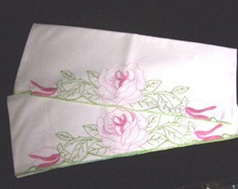 Vintage Pillowcase Set with Elaborately Embroidered Rose and Leaf Design