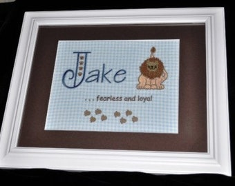 Baby Name Keepsake Embroidered and Framed