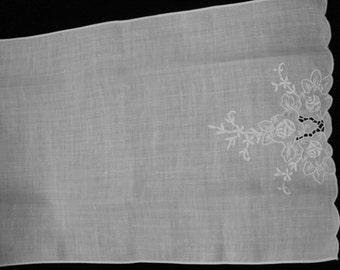 Embroidered Linen Tea Towel