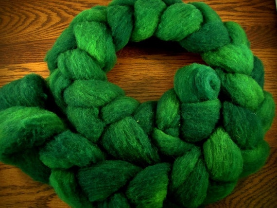 It's Not Easy Being Green - 4oz - 114g - Carded Southdown Roving