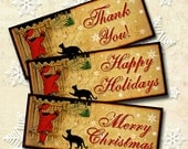 Christmas Note Cards Old Fashioned Merry Christmas Black Cat Happy Holidays Thank You Digital Collage Sheet Instant download