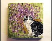 "Cat Art Painting Missy - original painting on 4"" x 4"" canvas"