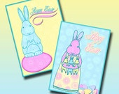 Easter Bunny Cards Digital Collage Sheet of Pastel Rabbits Eggs Images Artist Trading Cards ATC INSTANT DOWNLOAD