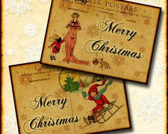 "Christmas Post Cards 2.5""x 3.5"" Digital Download Collage 9 Antique Vintage Scenes INSTANT DOWNLOAD"