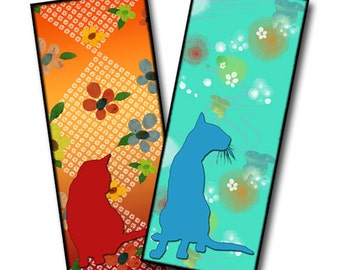 Cats and FLowers Printable Bookmarks with Asian Design Background Digital Collage Sheet INSTANT DOWNLOAD