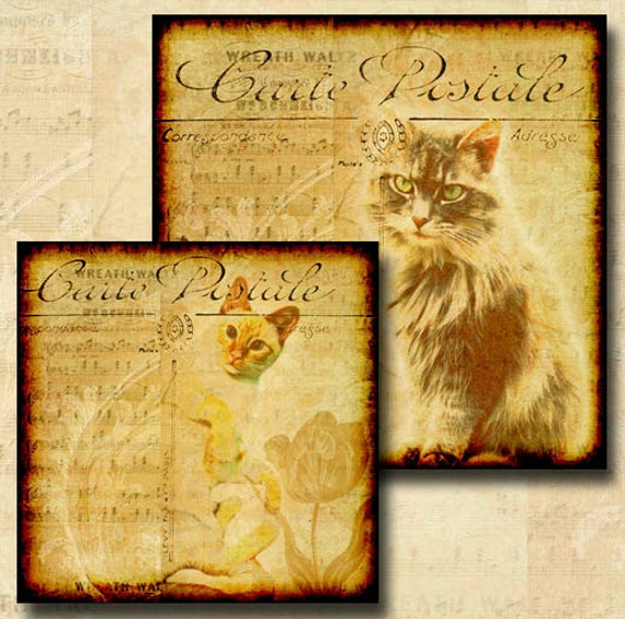 Rescued Cats Digital Download 1 Inch, 1.5 Inch, 1.25 Inch and Scrabble Tile Size Square Cat images Combo 3 Sheets INSTANT DOWNLOAD