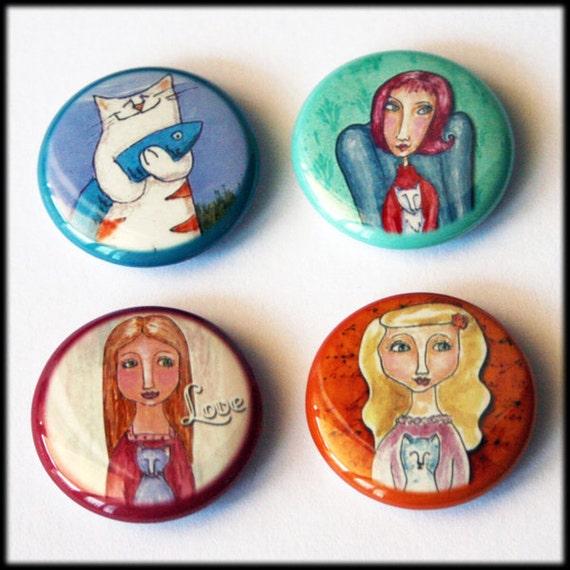 Cat Art Button Magnets -  one inch diameter - Set of 4 -  lot A