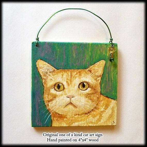 Orange Cat Art Original Painting on 4 Inch Wood Square