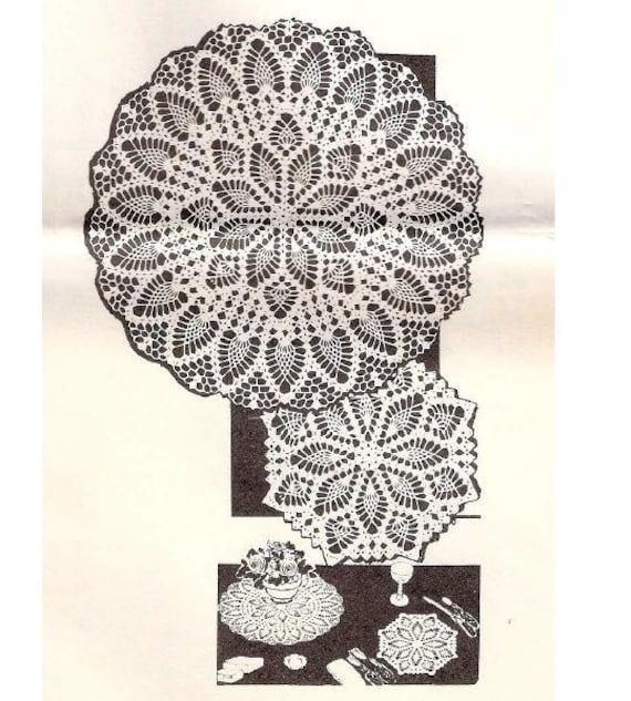 Crochet Pineapple Vintage Thread Lace Doilies, Pineapple Doily Patterns