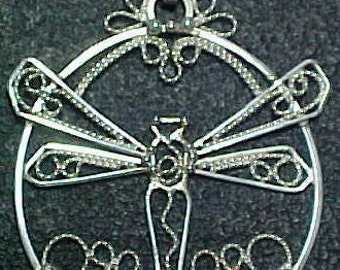 Hand Made Sterling Silver Filigree Dragonfly Pendant