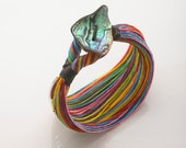 BRIGHT, Rainbow and New Zealand Paua Shell Waxed Linen Bracelet with Silver Tubes, Waterproof, Handmade in Canada, Free shipping in Canada