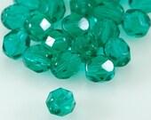 Czech Fire Polish Glass Bead Round 6mm Emerald Green SALE - 25    (ST046)