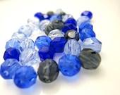 Czech FP Glass Bead Round 6mm Blue Mix SALE - 25    (ST080)