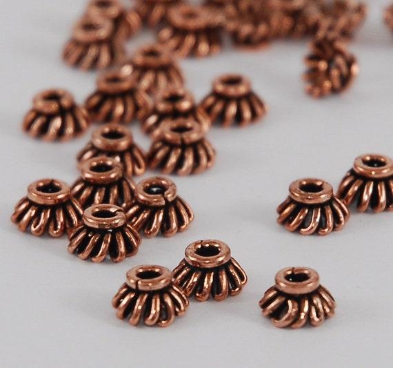Genuine Antique Copper 6.5mm Wire loop Bead Cap - 10 Beads (ST626)