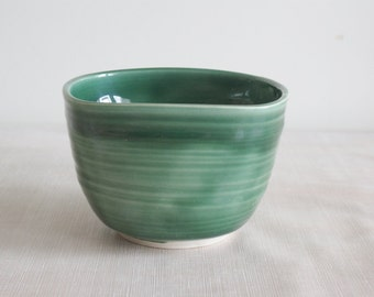 Green Porcelain Serving Bowl - Ceramic Green Bowl - Handmade Serving Bowl