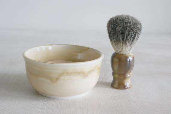 Handmade Shaving Bowl for Hot Wet Shave in Light Yellow