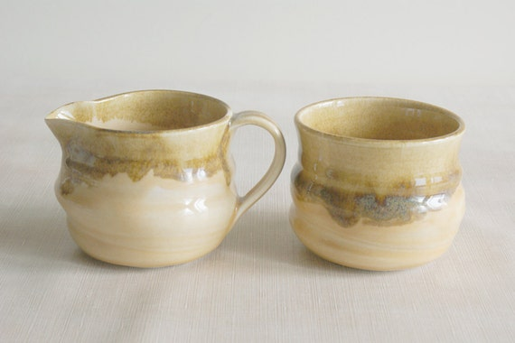 Light Yellow Porcelain Creamer and Sugar Bowl Set - Ceramic Creamer and Sugar Set