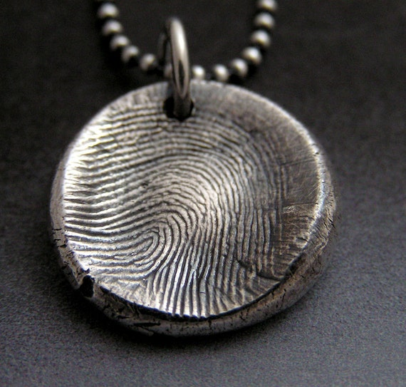 Fingerprint Charm Necklace in Fine Silver