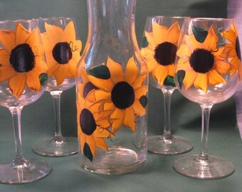 Hand Painted Sunflower Wine Glasses and Carafe