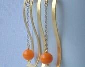 Orange Gold Dangle Earrings, Vintage Orange Glass Bead Earrings, Eco-Friendly