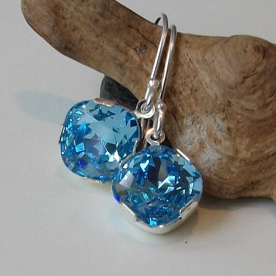 Blue Aquamarine Crystal Drop Earrings, Birthstone Earrings