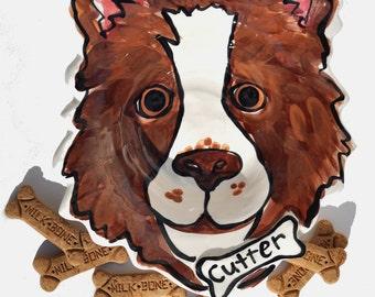 Extra Large Custom portrait Dog Bowl personalized free any dog pottery dish