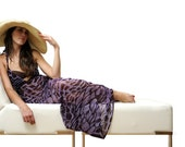 SALE - Purple Giraffe Print Maxi Dress/Swimsuit Cover Up - Small
