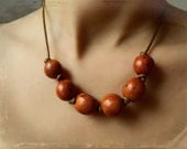 Amazon Seed Necklace - Honey Brown / Sterling Silver & Leather