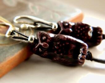 Andean Owl Earrings - Mixed Stones & Hemp / Acai Purple Sterling Silver
