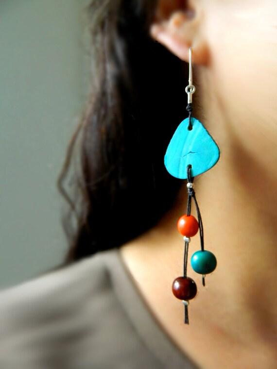 Acai Statement earrings - Aqua Tagua & Sterling Silver / Eco - Friendly