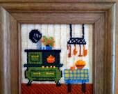 Cross Stitch Set Vintage Rare Hearth Kitty Fireplace