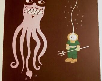 Cousteau OH NO Underwater Squid Octopus Scuba Diver Screen Print