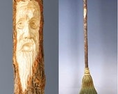Tree Spirit Carved Kitchen Broom in your choice of Natural, Black, Rust or Mixed Broomcorn