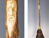 Carved Kitchen Broom in your choice of Natural, Black, Rust or Mixed Broomcorn -
