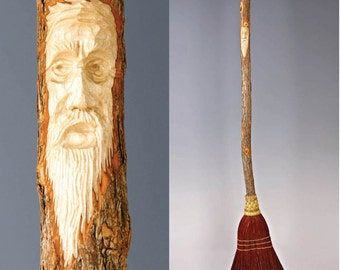 Hand Carved Kitchen Broom Sweeper in your choice of Natural, Black, Rust or Mixed Broom corn, with Tree Spirit Wizard Carving Old Man Face