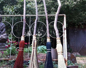Witch's Ceremonial Besom in your choice of Natural, Black, Rust or Mixed Broomcorn