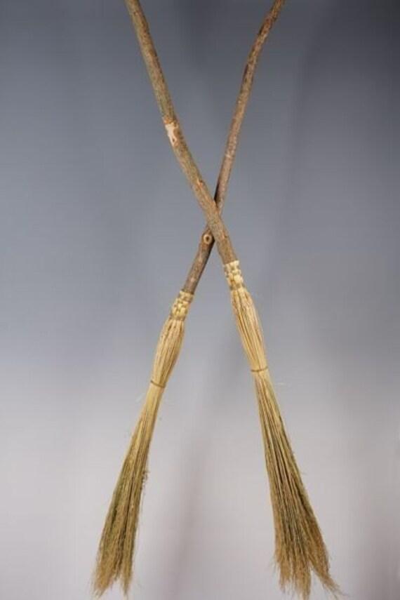Cobweb Broom Small Ritual Broom Natural Colored